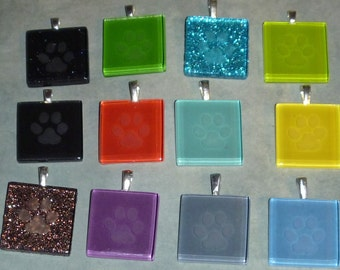 Etched glass paw print pendant 3 you chose colors