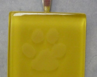 Etched glass lemon yellow paw print pendant