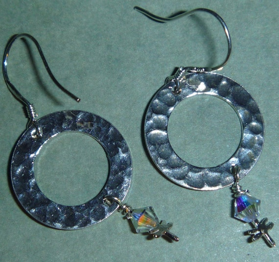 Sterling Silver hammered circle earrings with tiny dragonflies and clear crystals