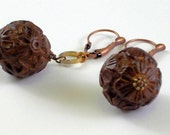 Earrings- Carved Cherry Wood
