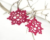 Cranberry Pink Crocheted Earrings - Quatrefoil Octagon
