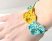 SALE - Crocheted Pansy Flowers Bracelet : Yellow, Blue, Green