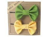 Green and yellow Polka Dot - Girls Hair bows - Set of Two Bobby Pins
