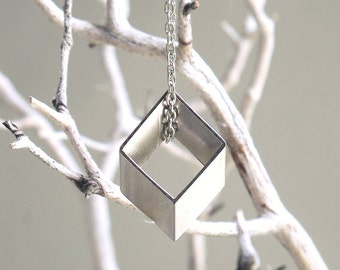 Silvered 3d Rhombus Vintage Cut Brass - Geometric Modern Necklace Small