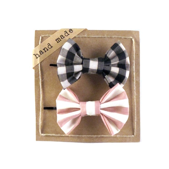 Black White Gingham and Pink Stripes Hair bows Set of Two Bobby Pins