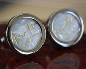 White Guitar Pick Custom Cuff Links - Multiple Colors Now Available