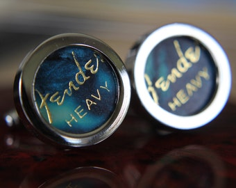 Turquoise Guitar Pick Custom Cuff Links Heavy - Multiple Colors Now Available