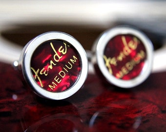 Red Guitar Pick Custom Cufflinks Medium - Multiple Colors Available