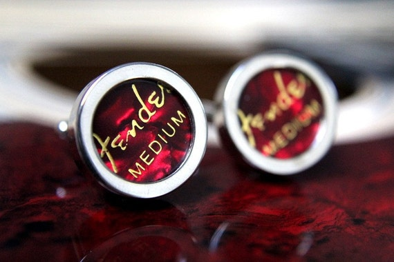 3 Sets of Fender Red Guitar Pick Custom Cufflinks - Reserved for TLivo