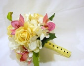 Real Touch Yellow Real Touch Roses, Hydrangeas and Pink Orchid Bridal Silk Bouquet