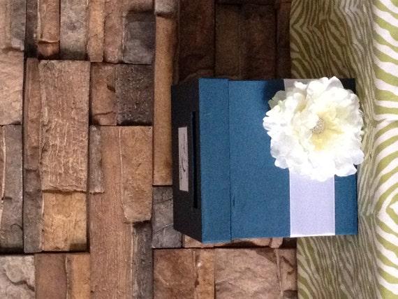 Custom Made Peacock Blue Wedding Card Box