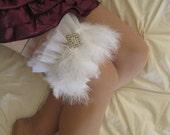 Unique White Feather Bridal Garter/Wedding Garter - Swan Lake