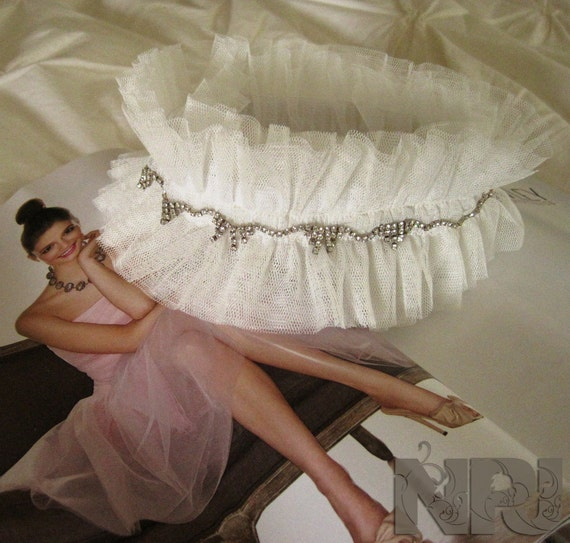 SALE White Tulle Pure Princess Garter with Rhinestones