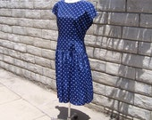 navy blue drop waist dress with white dots 80s sz 8