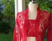Valentine vintage red lace jacket shirt