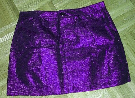 Luminous purple sparkle mini skirt 80s M