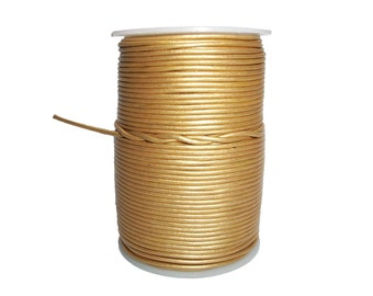 Round Leather Cord Gold   1mm 10meters