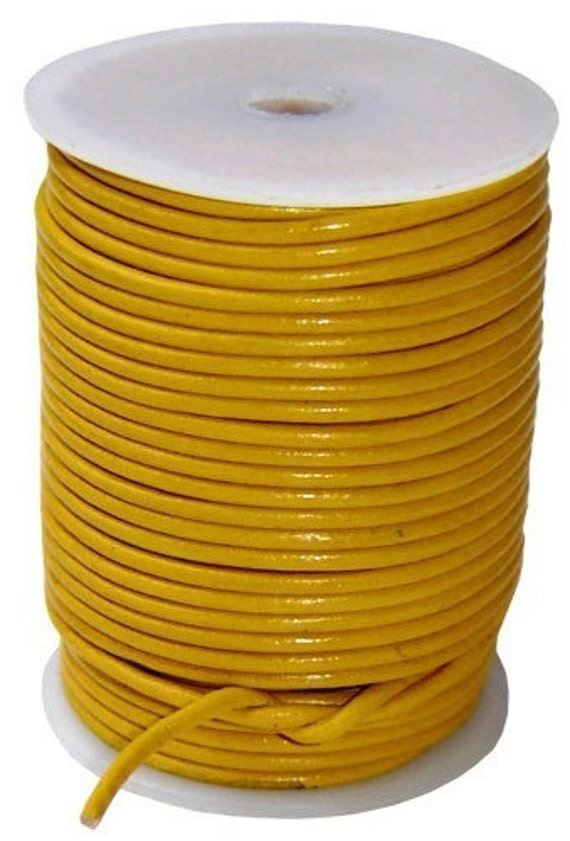 Round Leather Cord Yellow  1mm 5meters