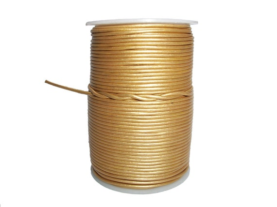 Round Leather Cord Gold 2mm 25meters