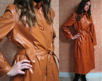 Vintage 70s Leather Trench Coat