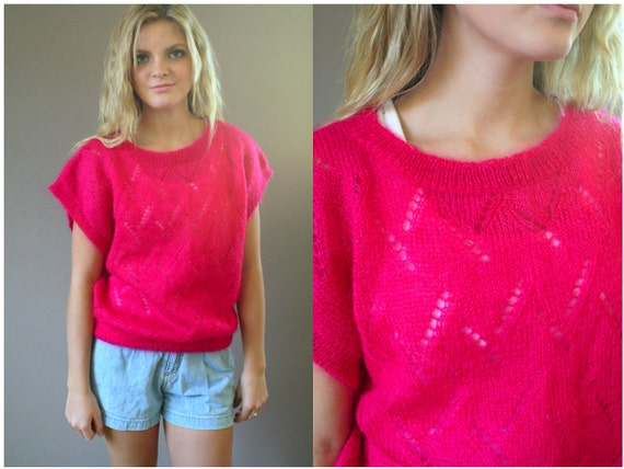 Vintage 80s Mohair Hot Pink Sleeveless Sweater