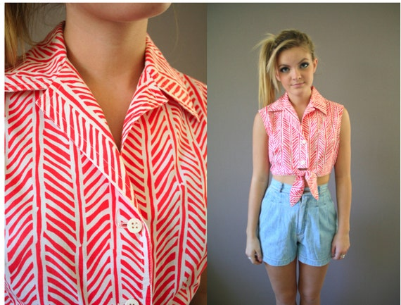 Vintage 80s Button Up Crop Top