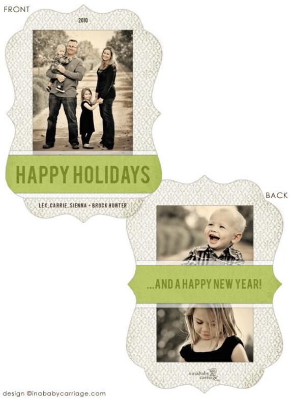 Unique 5x7 in. luxe die-cut photo christmas card - Tweeter design