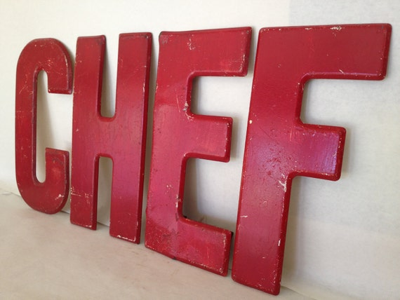 CHEF Metal Letters Red Marquee Advertising Foursome