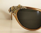 TURA Leaves and Vines - Vintage Cat Eye Glasses, Bronze (RESERVED FOR TERRY), GORGEOUS and ELEGANT, 50's, 60's