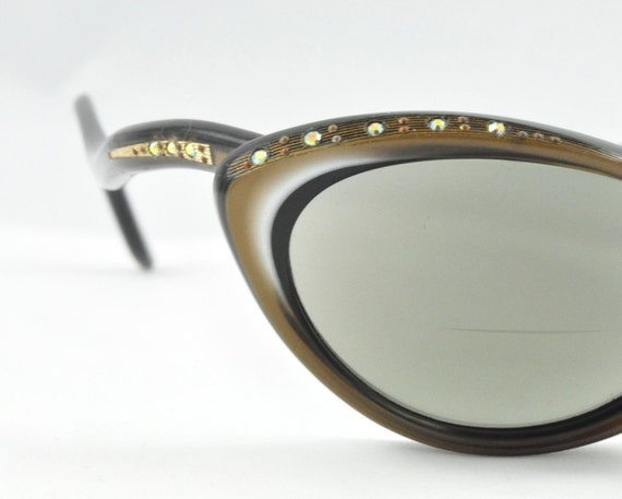 Vintage Cat Eye Glasses, Soft Gold with AB Rhinestones, Understated Elegance, Made by Raybert, Frame France