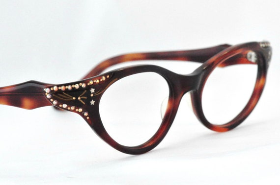 Vintage Cat Eye Glasses with Stunning Wings and Rhinestones