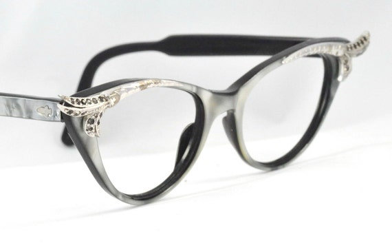 Vintage Cat Eye Glasses, Pearlescent Gray with Beautiful Feathered Corners and Black Diamond Rhinestones, France, Size Large