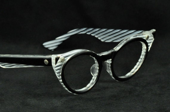 Vintage Cat Eye Glasses, LUMAR, Black with Clear Trim, Black and Clear Stripes, NOS New Old Stock