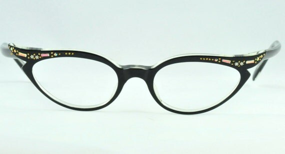 RESERVED for Gwen  Double Cat Style SWANK Vintage Cat Eye Glasses, New Old Stock, Black Over Clear with AB Rhinestones, Frame France