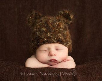 Newborn Bear Beanie in Cocoa Baby Hat
