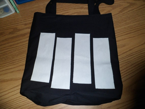 Black Flag Tote Bag with White Bars