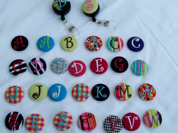 Interchangeable Monogrammed Embroidered Badge Reel Button - SMALL 1.25 inch