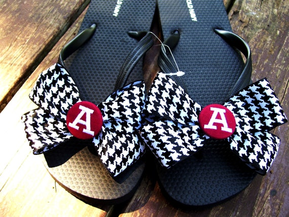 University of Alabama houndstooth bow embroidered monogrammed flip flops with bows