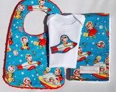 Hello Little One Gift Set - Rocket Applique Onesie, Red Minky Bib and Burp Cloth in Retro Rocket Rascals