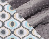 Blue and Gray Minky Baby Blanket for your Baby Boy- Feeling Groovy with Charcoal Grey Minky
