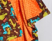 Baby Boy Blanket - Michael Miller Dino Dudes with Orange Minky for your Baby Boy