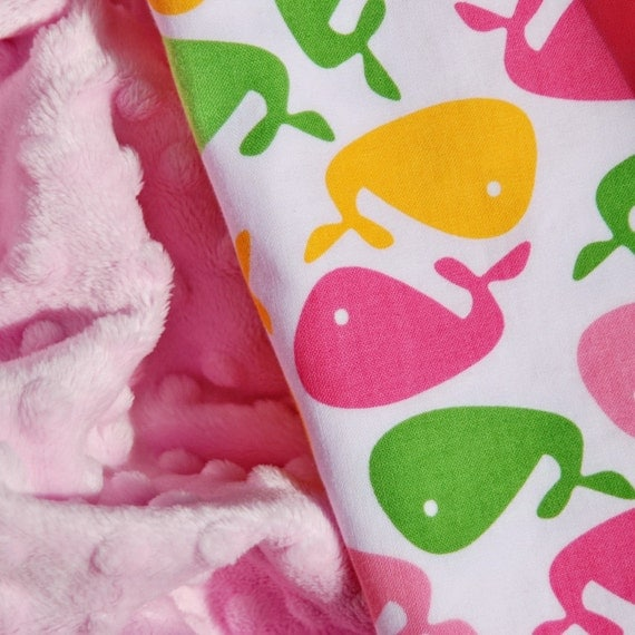 The Boco Stroller Size Baby Blanket -  Urban Whales with Light Pink Minky for your Baby Girl