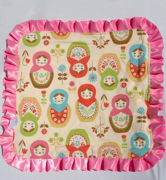 Matryoshka Baby Blanket - Lovey Size - Ivory Minky Dot and Pink Ruffle for your Baby Girl- Personalization Available - Limited Edition