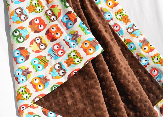 READY to SHIP SALE - Bright Owl Minky Baby Blanket - Bright Owls in Cream with Chocolate Brown Minky
