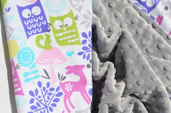 Sale and Ready to Ship - Minky Baby Blanket - Forest Life in Orchid with Light Gray Minky Dot for your Baby Girl -