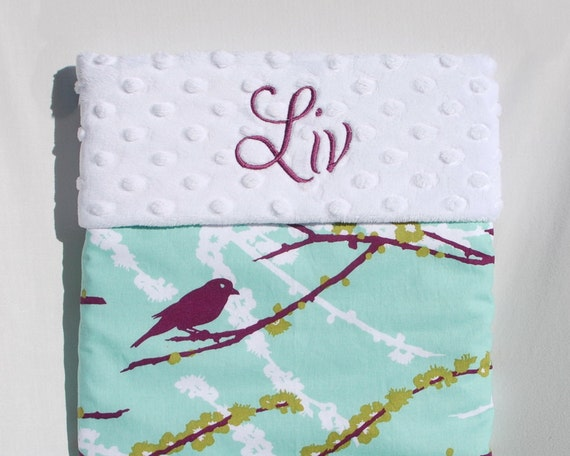 HOLIDAY SALE - Modern Baby Blanket -  Joel Dewberry Plum Sparrows with White Minky for your Baby Bird - Embroidery Included