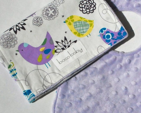 Baby Bib and Burp Cloth Set - Light Purple Minky Bib and Burp Cloth in Blue Starlings by Alexander Henry - Ready to Ship
