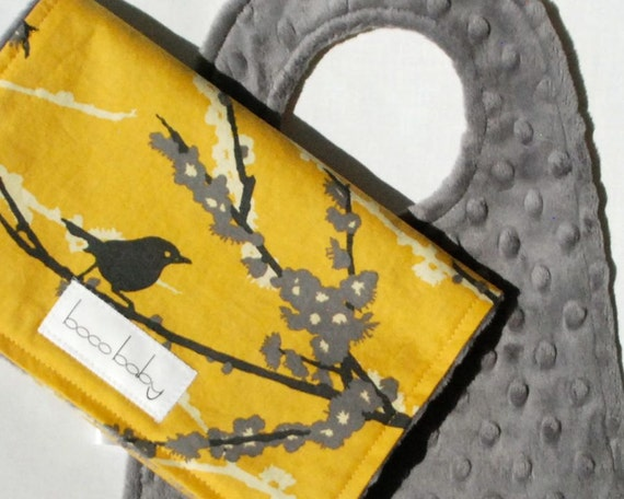 Baby Bib and Burp Cloth Set - Charcoal Gray Minky Bib and Burp Cloth in Vintage Yellow Aviary Sparrows by Joel Dewberry - Ready to Ship
