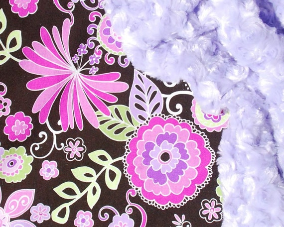Sale and Ready to Ship - Purple Minky Baby Blanket - Michael Miller Boho Blossom with Lavender Puprle Swirl Minky for your Baby Girl