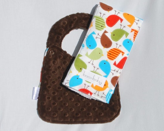 Baby Bib and Burp Cloth Set -  Bib and Burp Cloth in Bermuda Birds and chocolate brown minky - Ready to Ship